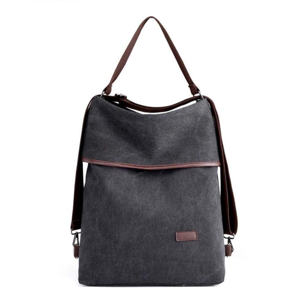 HONGYU Kvinnor stor kanvas handväska ryggsäck axelväska handväska Grå