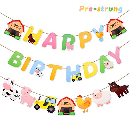 Faisichocalato Farm Animals Happy Birthday Banner, Party Decorations
