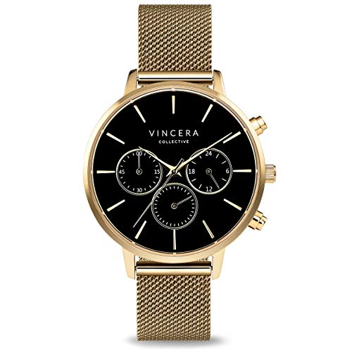 Vincero Luxury Woman's Kleio Wrist Watch with a Mesh Watch Band - 38mm Chronograph Watch - Japanese Quartz Movement (Matte Black + Rose)