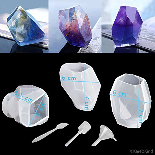 Polymer Clay / Resin Epoxy Molds - DIY 'Quartz Crystal' Kit - Set of 3 Silicone Shapes - Create Your Own Clear or Opaque Crystal Shaped Objects - Easy to (Quartz Gem Faceted Diamond)