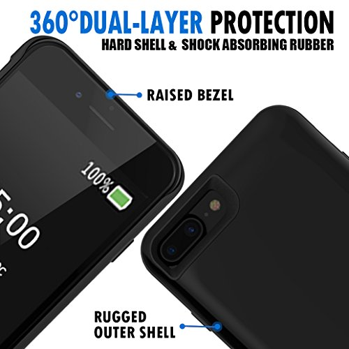 iPhone 7 Plus Battery CaseRuky 7500mAh Protable seriously slimmer Extended Charging Backup Battery scenario Rechargeable potential Bank Charging scenario for iPhone 7 Plus Black Charger Cases