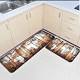 Infinidesign 2 Piece Kitchen Rubber Backing Non-Slip Bath Rugs Runner Doormat Set - Retro Monochrome Wood Grain World Map Runner Carpet Set - 19.7''x31.5''+19.7''x63''