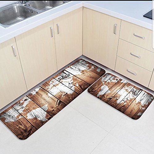 Infinidesign 2 Piece Kitchen Rubber Backing Non-Slip Bath Rugs Runner Doormat Set - Retro Monochrome Wood Grain World Map Runner Carpet Set - 19.7''x31.5''+19.7''x63'' by Infinidesign (Image #1)