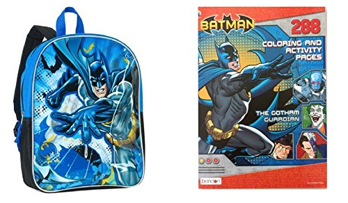 Price comparison product image Batman Boys Back to School 15 Inch Backpack and Coloring and Activity Book - 288 Pages