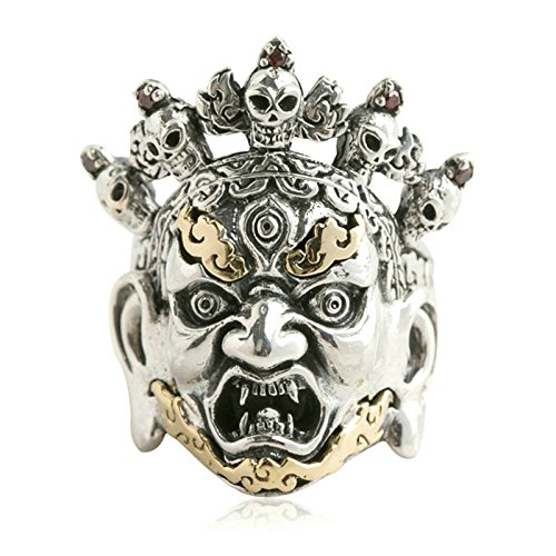 Adisaer Biker Rings Silver Ring for Men Skull Head Fire Ring Size 8.5 Vintage Punk Jewelry by Adisaer