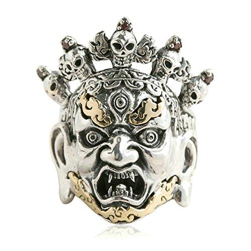 Beydodo Mens Silver Ring, Skull Head Fire Ring Size 10.5 Silver Ring for Men Hip Hop by Beydodo