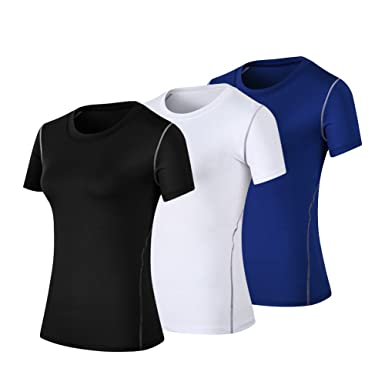 WANAYOU Women s Compression Shirt Moisture Wicking Performance Workout  Athletic Running Short Sleeve T Shirts 3 Pack 9ace08e6fd09