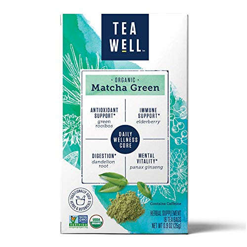TeaWell Organic Matcha Green Wellness Tea, 16 Count Box (Pack of 6)