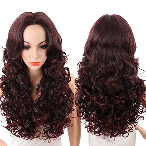 KRSI Long Wavy Curly Women's Wigs 28Inch Wine Red Natural Hair Wigs With Side Bangs Heat Resistant Party Cosplay None Lace Wigs+Free Wig Cap (Wine Red)