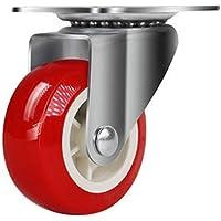 Svnaokr 4 stuks wielen voor meubels + schroeven, 32 mm transportwielenset (1 x zwenkwielen, rood)