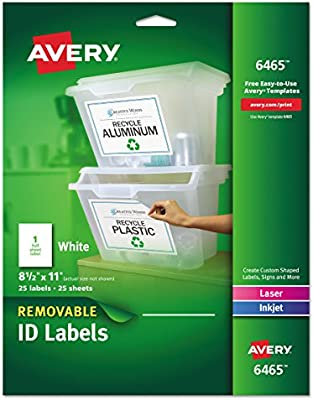 Avery Self-Adhesive Removable Laser Id Labels, White, 8 5 x 11 inches, 25  per Pack (6465)