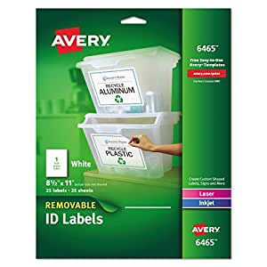 Avery Self-Adhesive Removable Laser Id Labels, White, 8.5 x 11 inches, 25 per Pack (6465)