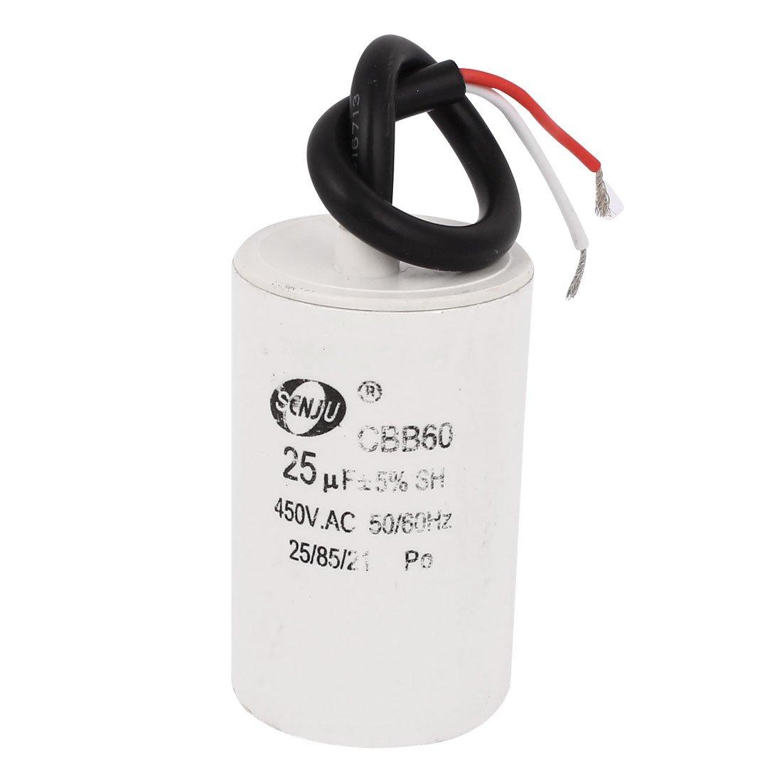 sourcingmap® Motor condensador CBB60 AC 450V 25uF 5% Cable ...