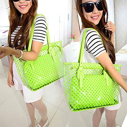 Tote Lack Jelly Women Bags PVC Handbags Clear Shoulder Blue Bags Casual White Ifq4fRwx