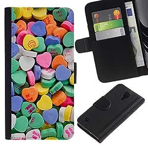 For SAMSUNG Galaxy S4 IV / i9500 / i9515 / i9505G / SGH-i337,S-type® Heart Candy Valentines Sweets Love - Dibujo PU billetera de cuero Funda Case Caso de la piel de la bolsa protectora