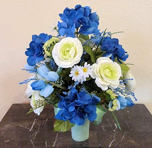 Blue Hydrangea Cemetery Arrangement, Cemetery Arrangement with Ranunculus, Flowers For Cemetery Vase