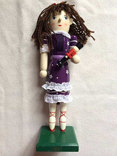 Decorative Nutcracker Girl Clara in Purple Flower Dress Holding Toy Soldier