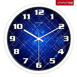 Znzbzt Simple Creative Mute Wall Clock Creative Living Room Wall Table Clock Metal Mute Wall Clock Modern Minimalist Art Quartz Watches, 12 inch, Metallic White Box