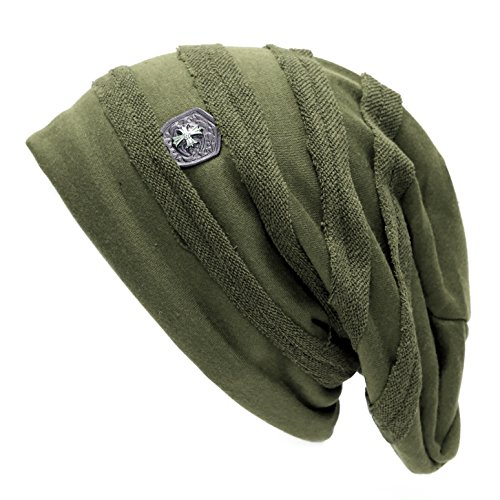 Badge Beanie - THE HAT DEPOT Exclusive Vintage Horizontal Slouchy Baggy Beanie Cross Badge Lined Hat (Olive)