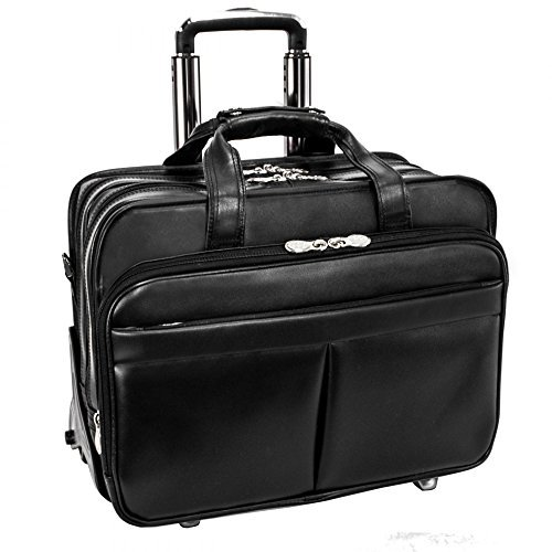 McKlein R Series Roosevelt 17'' Leather Detachable Wheeled Laptop Case with Removable Sleeve