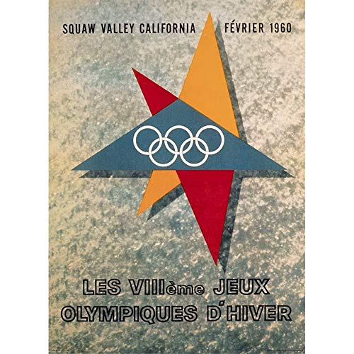 Squaw Valley, California, United States 1960 VIII Winter Olympic Games Official Poster, Image Size 13 x 18 inches (Best Fireworks Display At Disney World)