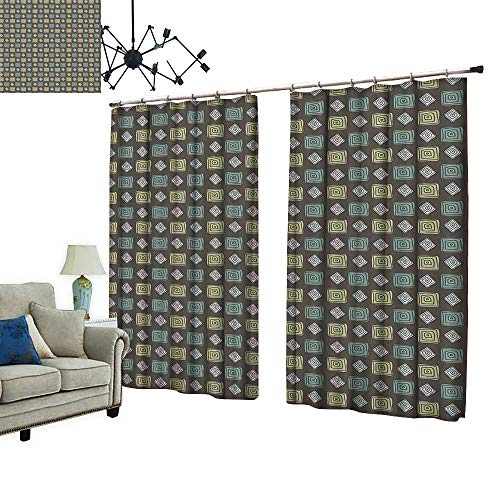 PRUNUS Room Darkening Curtain with Hooked Roman Style Polka Dots in Square Shapes and Round Sage Green Olive Green Thermal Insulated Blackout Window Curtain,W96.5 xL108
