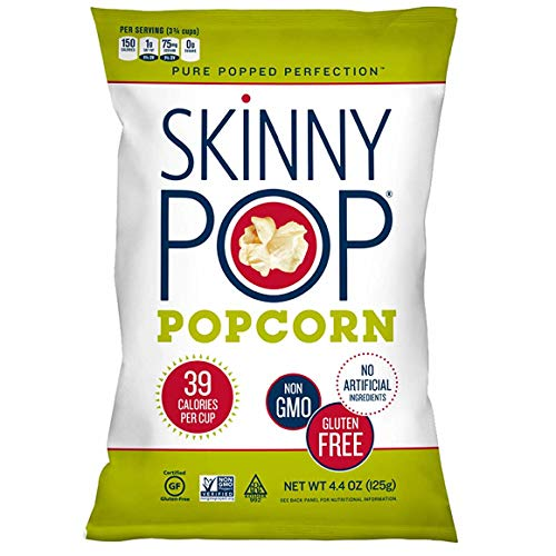 SkinnyPop Original Popped Popcorn, Vegan, Gluten-free, Non-GMO, 4.4oz Grocery Sized Bag
