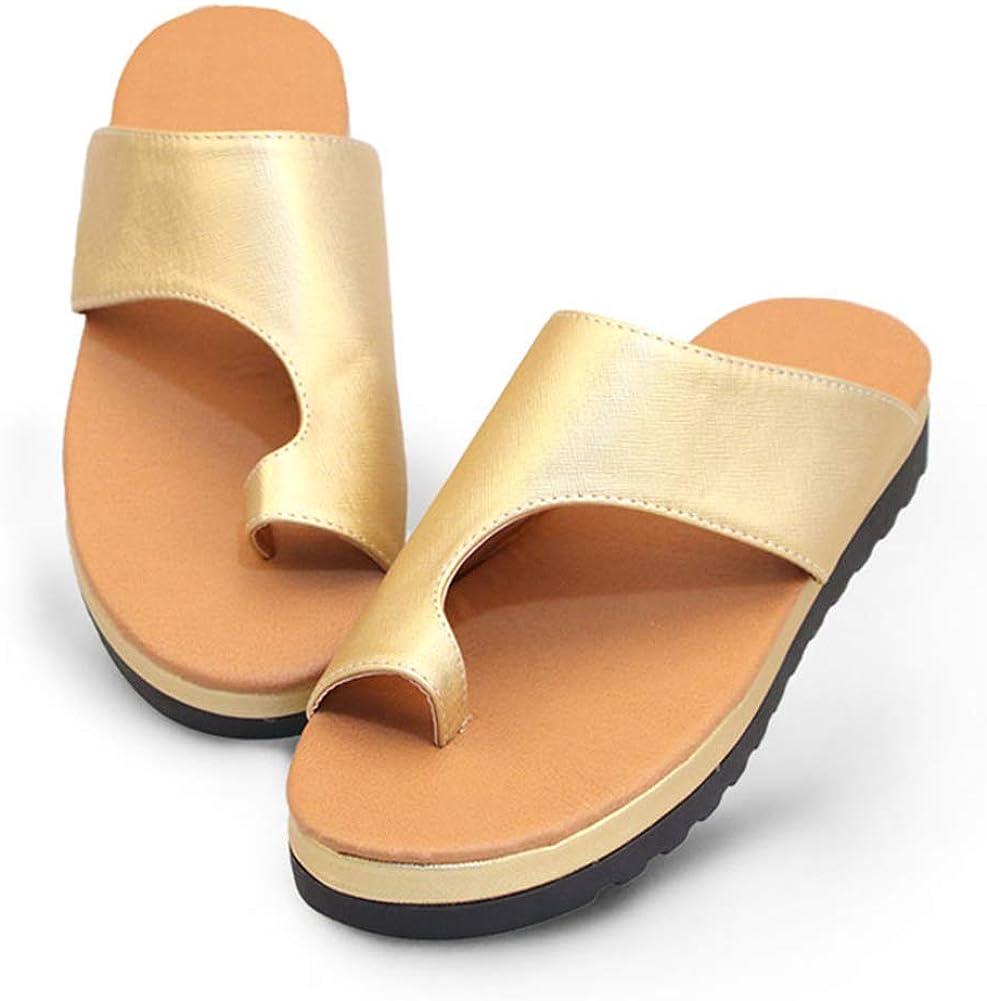 Pies Corregir Chanclas Ortesis Sandalia, Zapatos Bajos Piel Sintética Comodidad Grueso TPR Suela Puntera Redonda por Mujer Informal Daily Zapatos