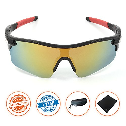 J+S Active PLUS Cycling Outdoor Sports Athlete's Sunglasses, Polarized, 100% UV protection (Black Frame / Golden Sunset Mirror - Shades Bike