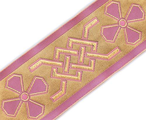 Very Wide, Jacquard, Vestment Trim. Celtic. Gold, Pink. 3¾