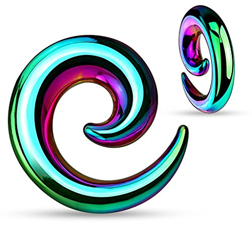 Steel Talon Taper - Zaya Body Jewelry Pair Rainbow Anodized Stainless Steel Ear Spirals Tapers Gauges 00g 0g 2g 4g (0g)