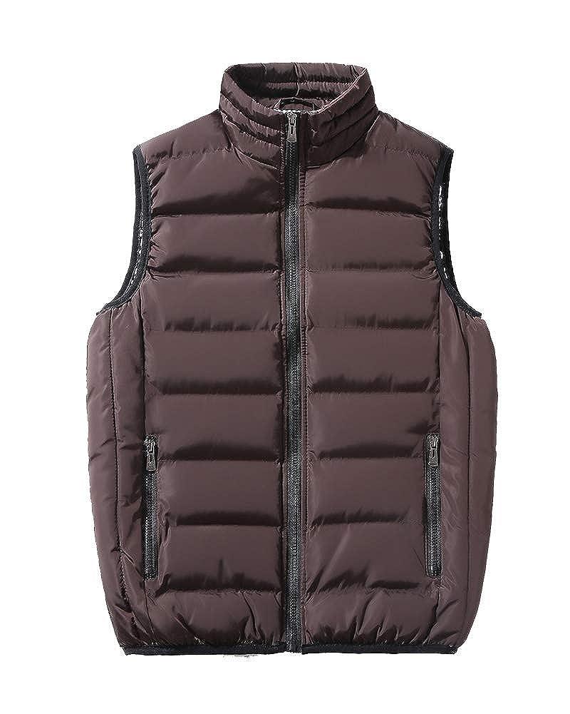 Uomo Inverno Tinta Unita Leggero Casual Giubbino Senza Maniche Giacca Piuma Vestiti Panciotto Smanicato Caldo Gilet Cappotto