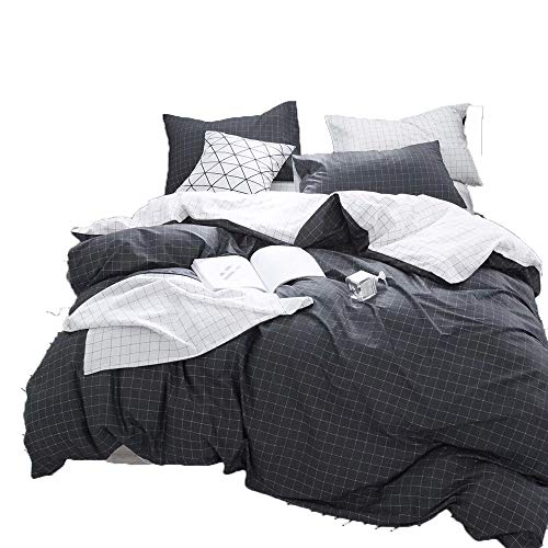 CLOTHKNOW Dark Grey White Grid Simple Boys Duvet Cover Sets Queen/Full Marble Men Bedding Set 100 Cotton Reversible 3 Pieces – 1 Checkered Duvet Cover with Zipper Closure 2 Pillowcases Soft Healthy