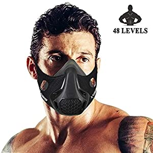 Chriffer Workout Mask with 48 Breathing Resistance Levels, Sports Mask Fitness, Running, Resistance,Cardio,Endurance…