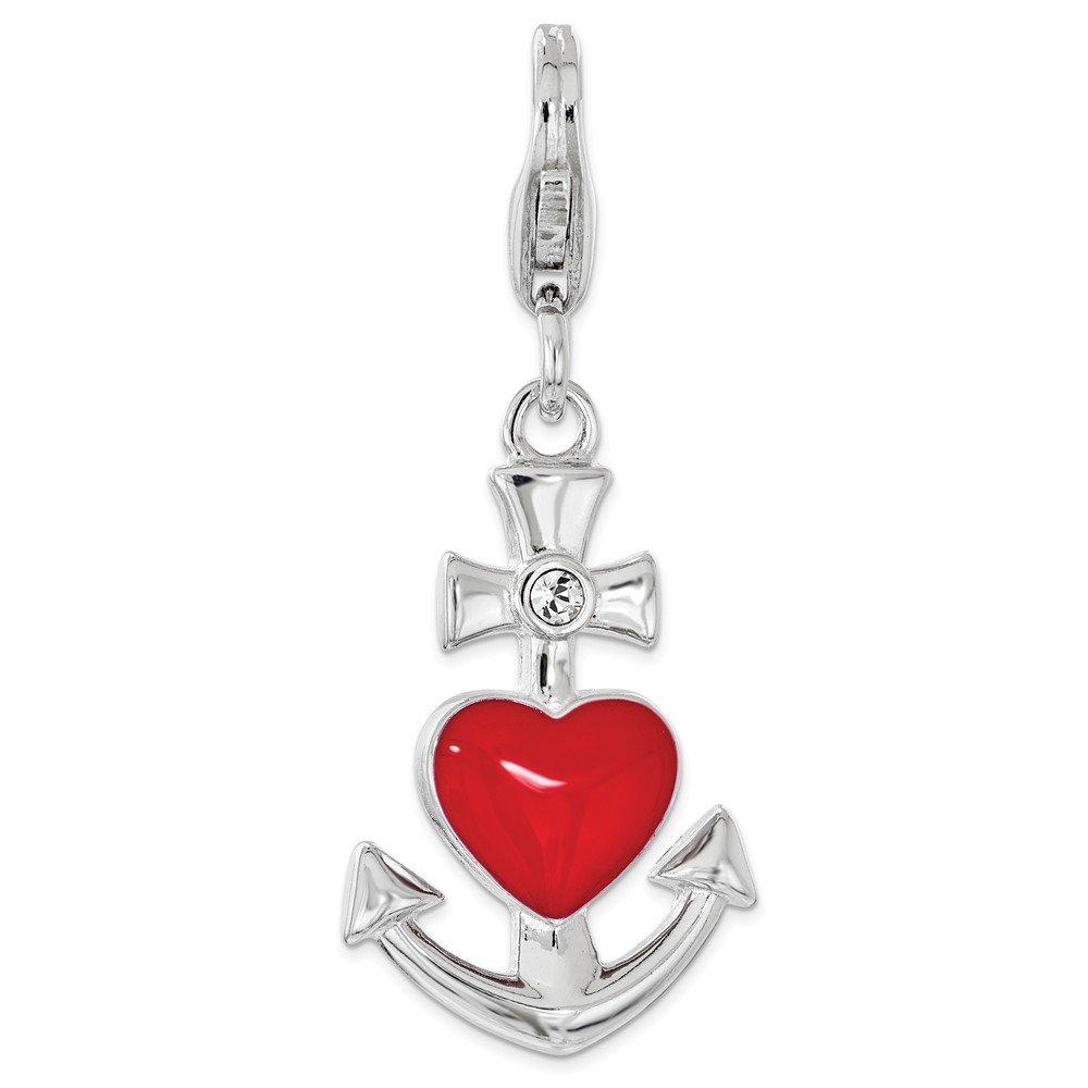 Amor La Vita Sterling Silver Click-On Enameled with Anchor Heart Lobster Clasp Charm Pendant