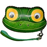 Leather Change Purse,Jewelry Holder.Green Delicate &Pretty Frog Face Pattern, Zipper.