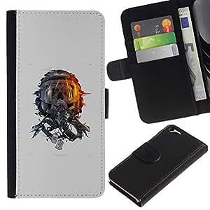 NEECELL GIFT forCITY // Billetera de cuero Caso Cubierta de protección Carcasa / Leather Wallet Case for Apple Iphone 6 // Cráneo Espacio
