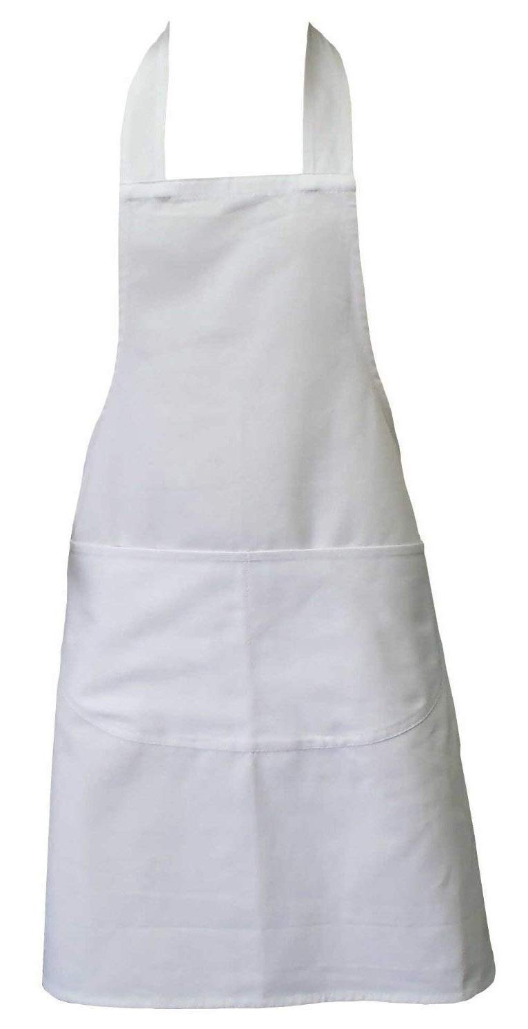 Chefs Apron, White, Kitchen Apron, Double Pockets, Machine Washable, Suitable for Domestic and Professional Purposes Clay Roberts FBA_CLY474146