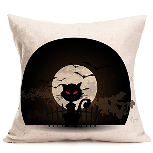 Halloween Pillow Cases,SUPPION Happy Halloween Pillow Cases Linen Sofa Cushion Cover Home Decor(9 kinds of patterns) (G)