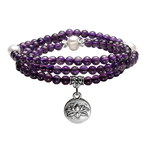 Jovivi 4mm Tibetan Natural Amethyst Stone & Freshwater Pearl Healing Gemstone 108 Mala Prayer Beads Stretch Bracelet Necklace