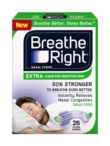 Breathe Right Nasal Strips EXTRA CLEAR For SENSITIVE SKIN 104 Strips (4 packs of 26)