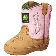 John Deere 185 Western Boot (Infant/Toddler),Tan/Pink,0 M US Infant