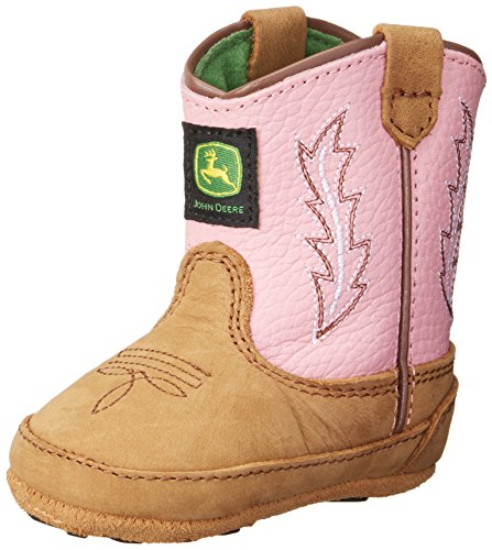 John Deere 185 Western Boot (Infant/Toddler),Tan/Pink,0 M US Infant ()