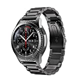 Gear S3 Frontier/Classic Watch Bands Stainless Steel Band Metal Business Replacement Bracelet Strap for Samsung Gear S3 Frontier S3 Classic Smart Watch (Metal Black)