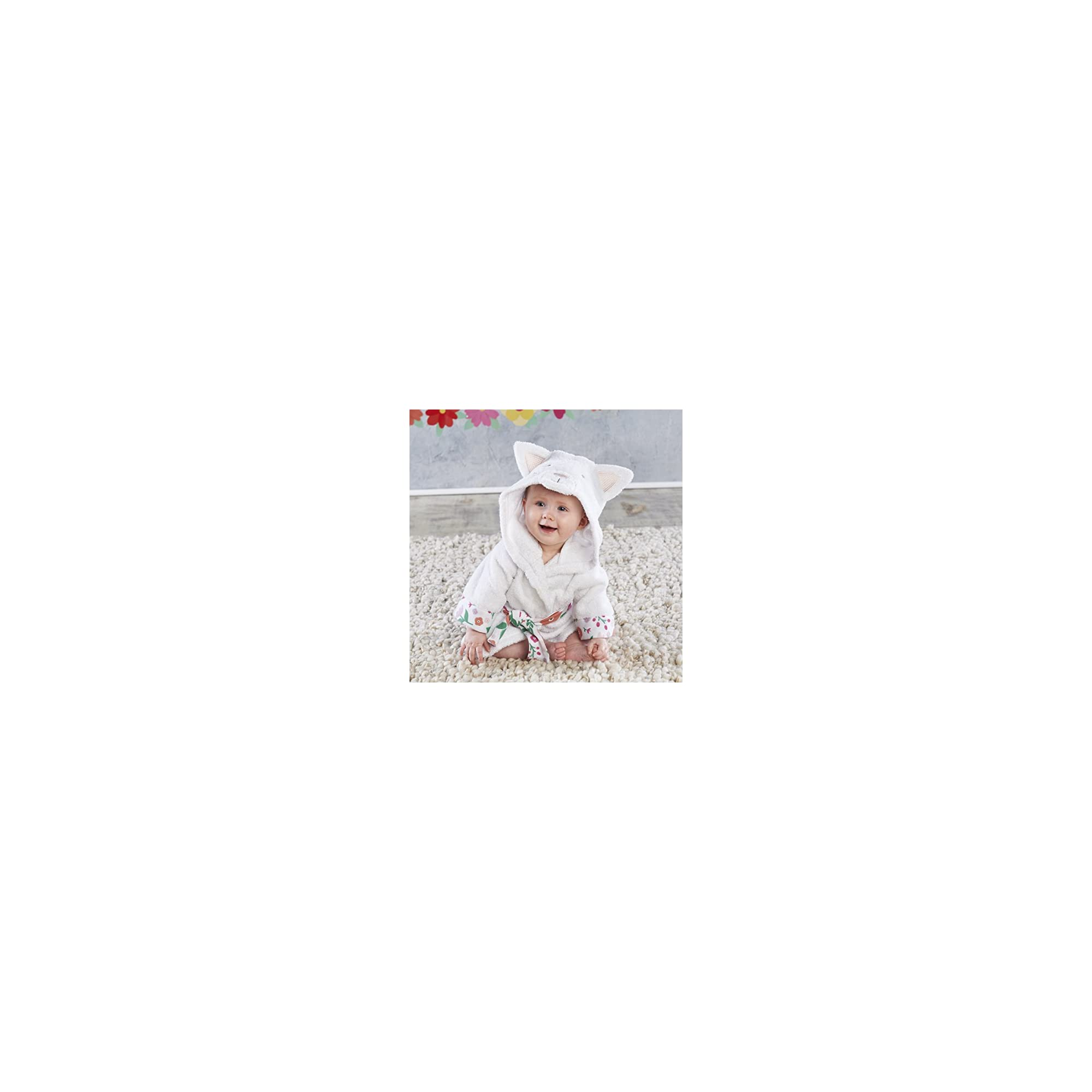 Baby Aspen, Hooded Cat Robe with Ears, Baby Bath Towel, Terry Cloth, White and Floral