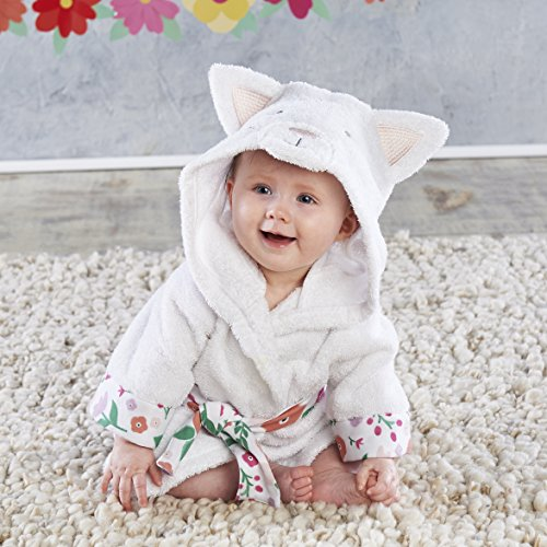 Baby Aspen, Hooded Cat Robe with Ears, Baby Bath Towel, Terry Cloth, White and Floral (Baby Cat Towel Hooded)