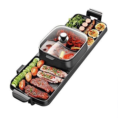 AWLLY Household Electric Grill Multifunction One-Piece Pot Five Files Temperature Adjustment No Fumes Not Sticky Easy to Clean Separate Design 2200W