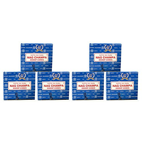 (Satya Sai Baba Nag Champa Temple Pack of 6 Incense Cones Boxes, 15gms Each, Fresh, Pure and Long Lasting Fragrance for Relaxation, Anxiety and Stress Relief, Calmness)