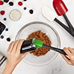 Oxo Good Grips 3-piece Silicone Spatula Set 16 3-Piece Silicone Set includes: Small Spatula, Medium Spatula and Spoon Spatula Small Spatula ideal for reaching food in jars and other tight spaces Medium Spatula features rounded edge for scraping bowls and square edge for pushing batter into corners