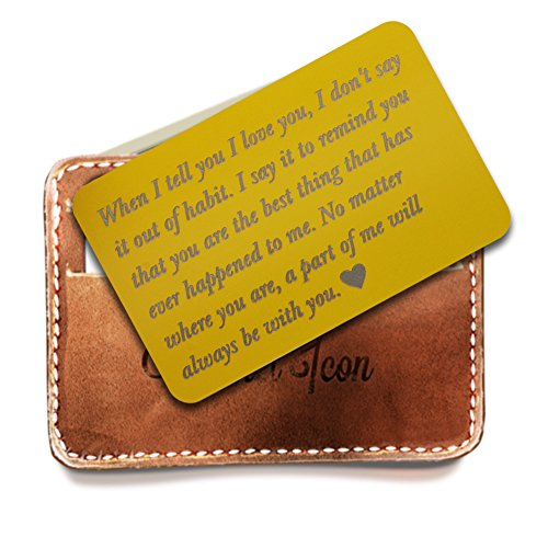 Yellow Stainless Steel Wallet Insert Personalized Wallet Card Insert Love Note   When I Tell You I Love You  Mini Love Note For Husband  Boyfriend  Anniversary  Valentines Day